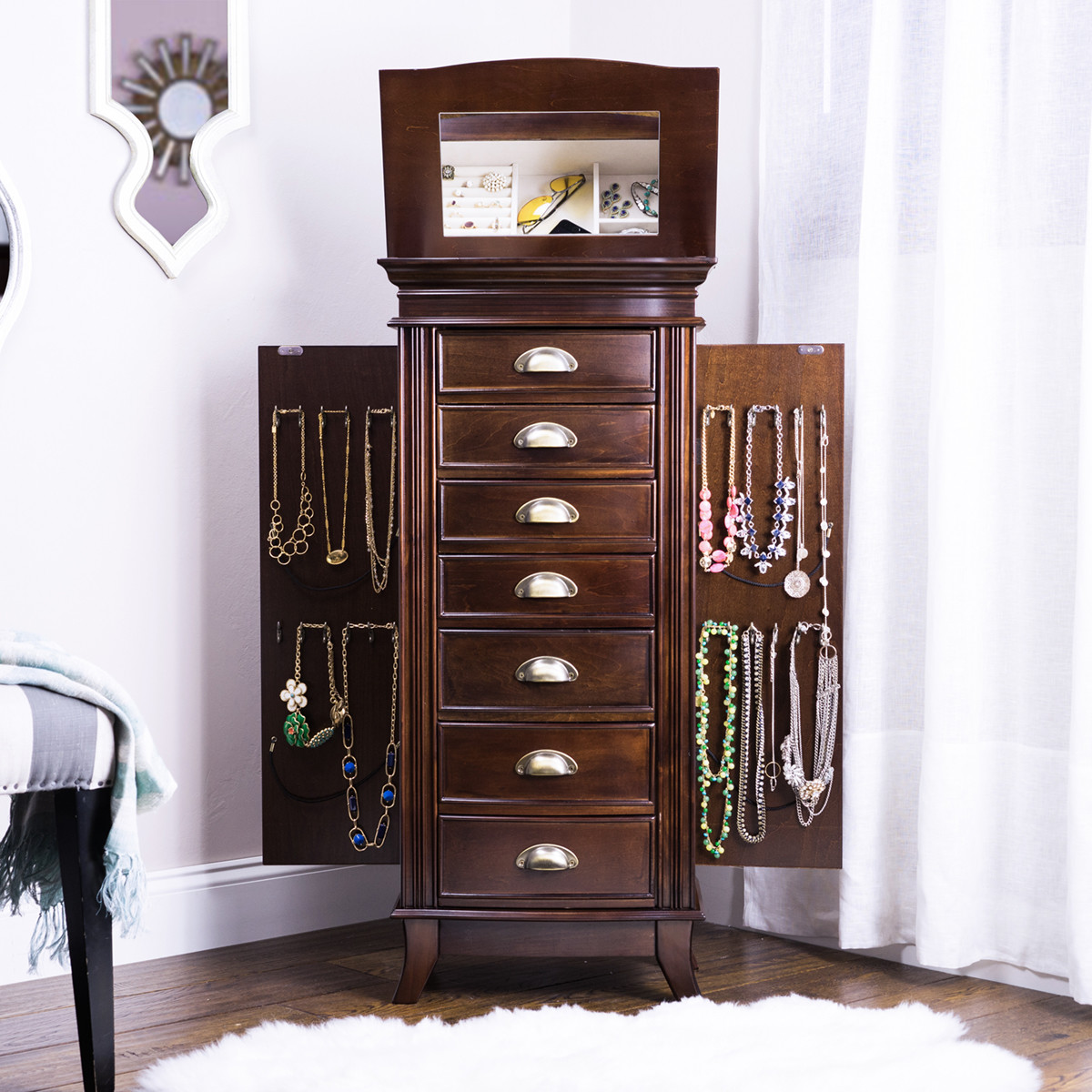 hillary jewelry armoire rich walnut hives and honey. Black Bedroom Furniture Sets. Home Design Ideas