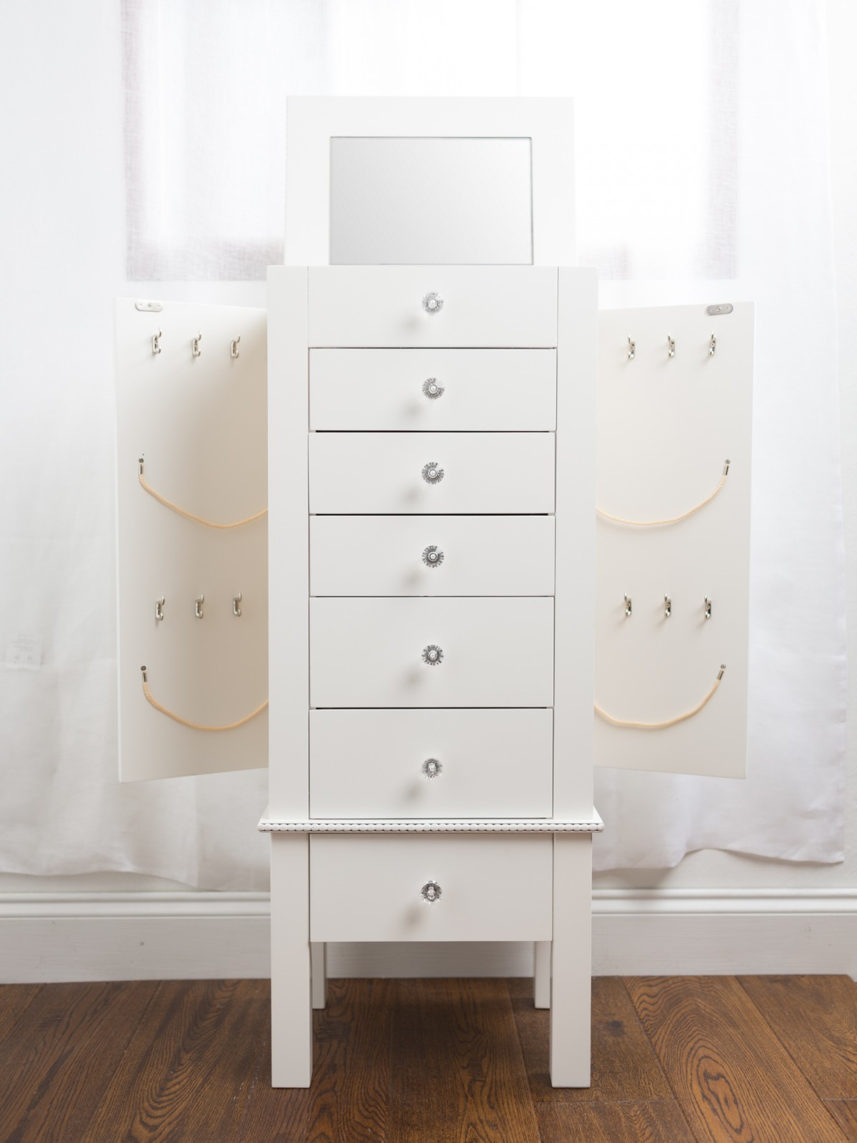 hannah jewelry armoire with mirror white