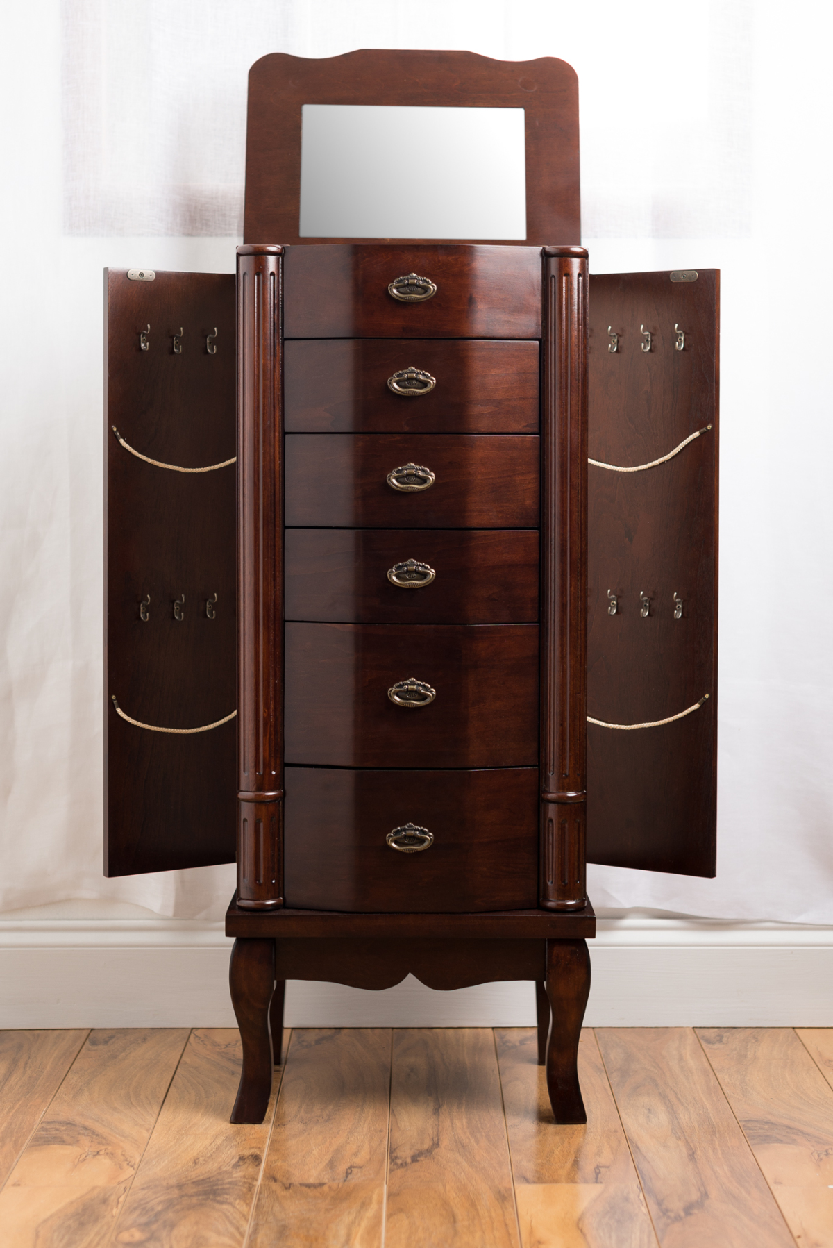 Abigail jewelry armoire walnut hives and honey for Juno vintage modern jewelry armoire