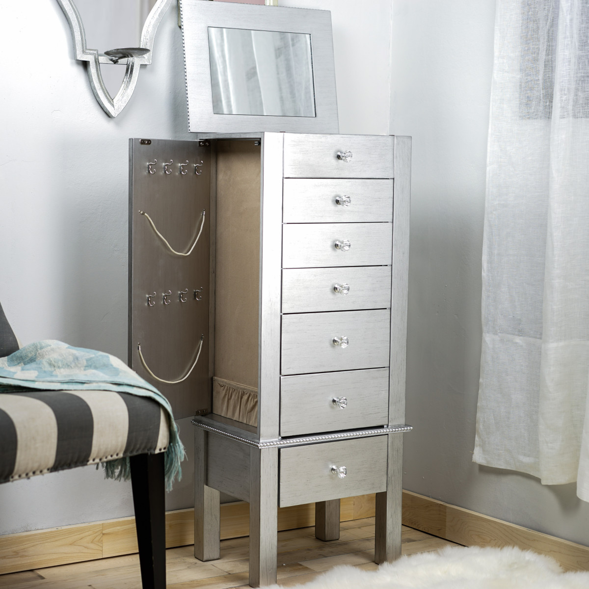 Hannah Jewelry Armoire Silver Leaf Hives And Honey
