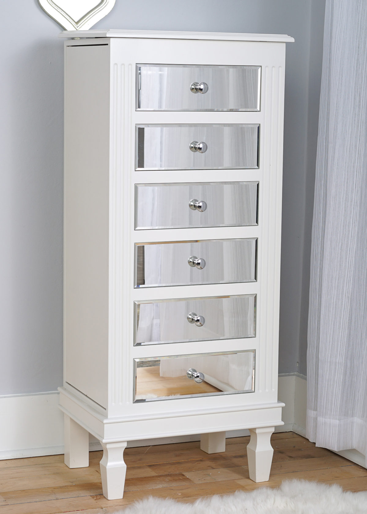 Ava Jewelry Armoire ~ Mirrored White | Hives and Honey