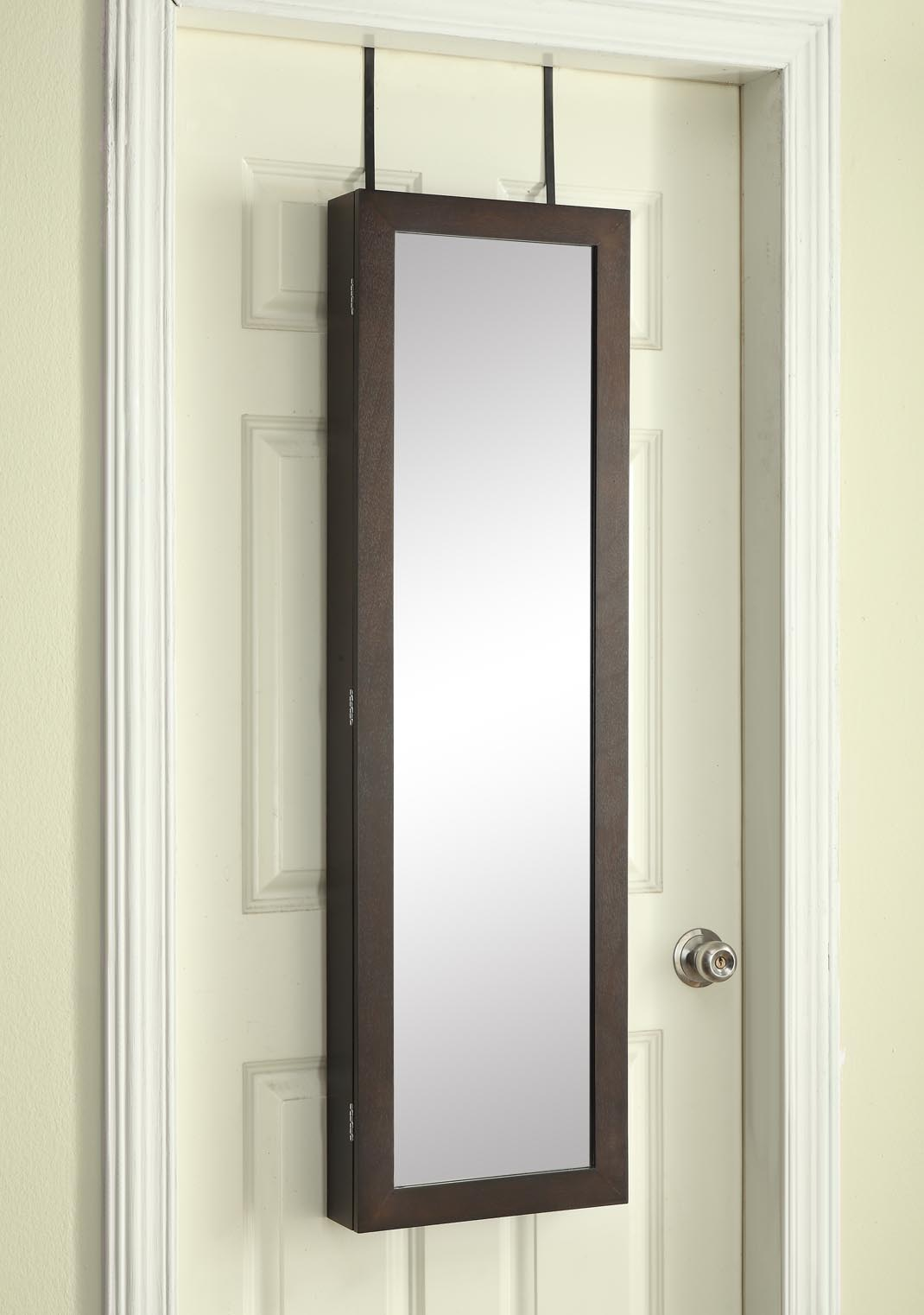 over the door jewelry armoire with mirror dark walnut. Black Bedroom Furniture Sets. Home Design Ideas