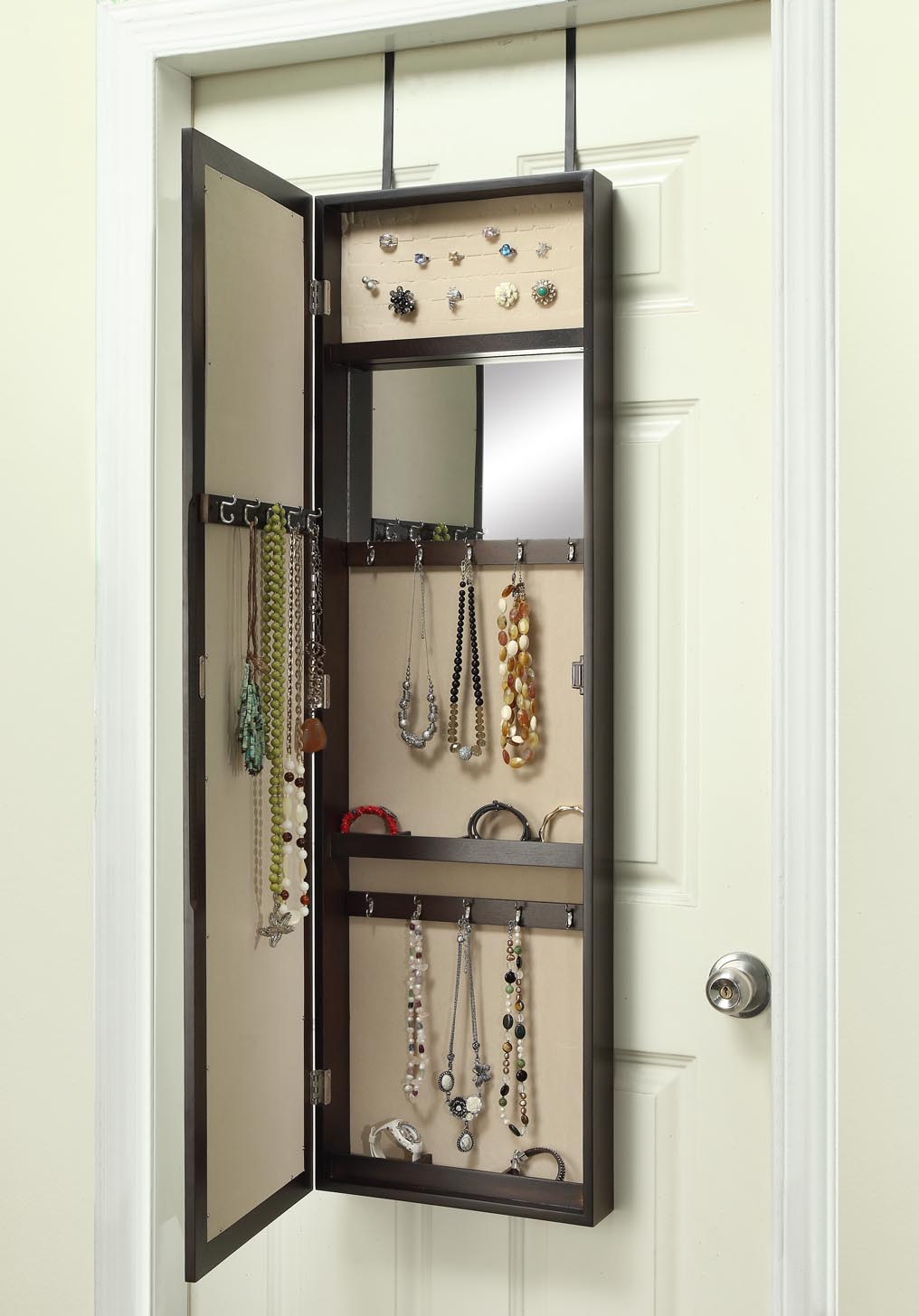 Over The Door Jewelry Armoire With Mirror Dark Walnut