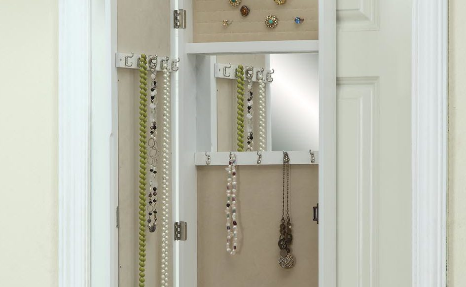 Over The Door Jewelry Armorie With Mirror Tuscan White