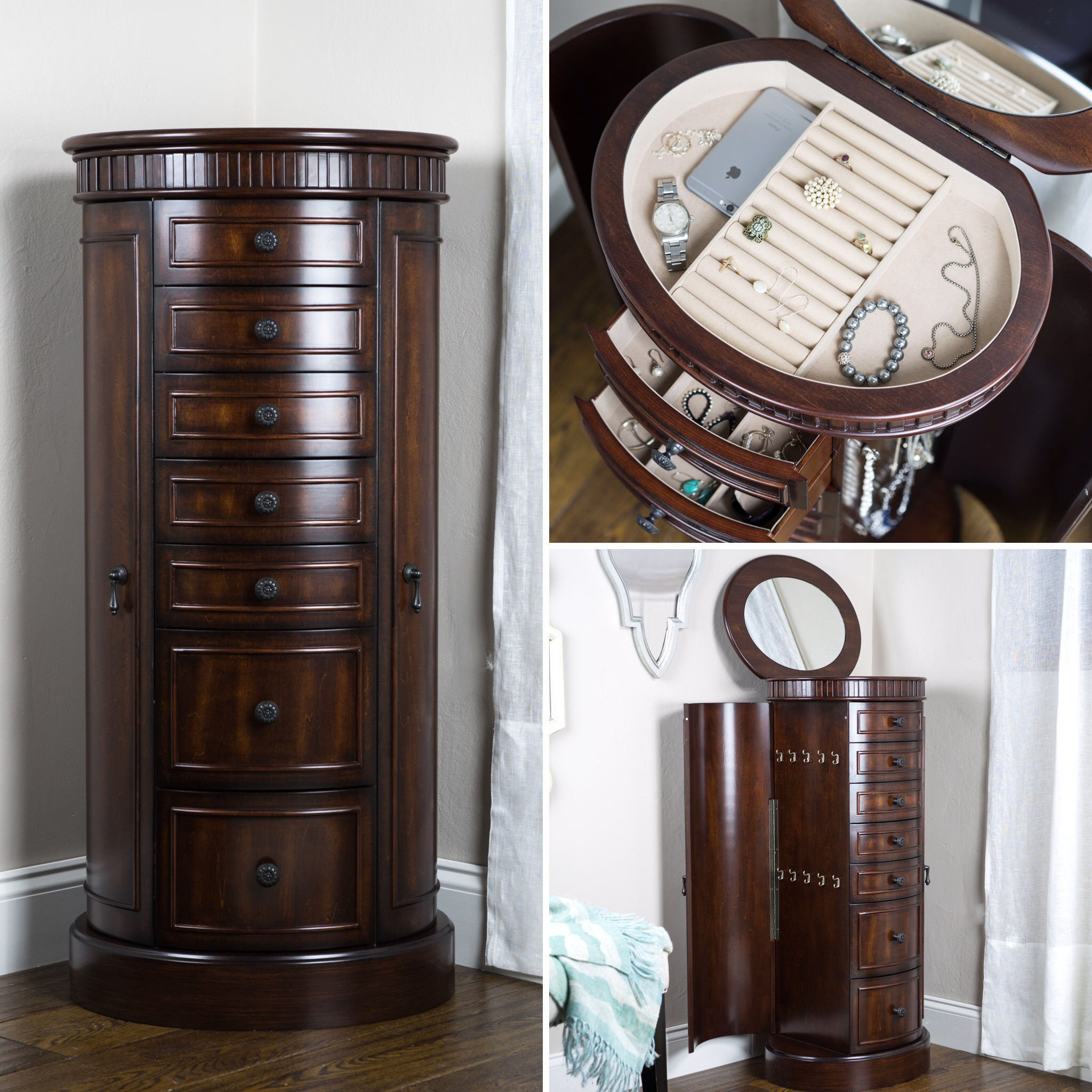Bailey Jewelry Armoire ~ Antique Walnut