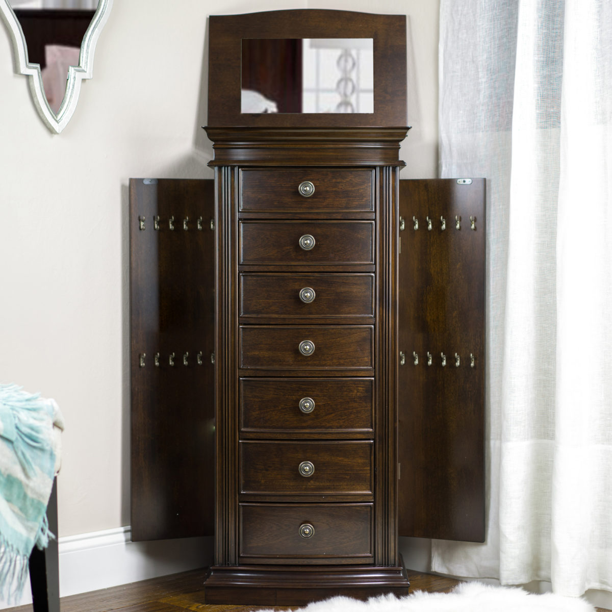 Landry Jewelry Armoire Dark Walnut Hives and Honey