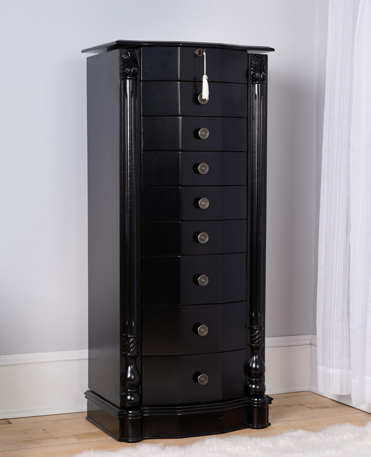 Charmant Florence Jewelry Armoire ~ Antiqued Black Lacquer