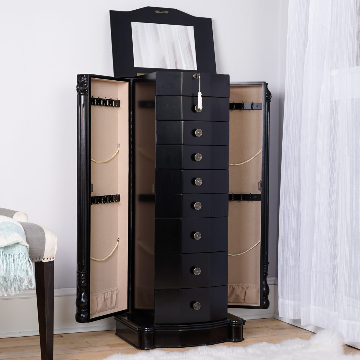 Florence Jewelry Armoire Antiqued Black Hives and Honey