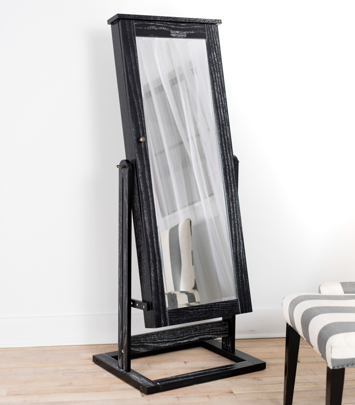 cheval jewelry mirror with pinboard ceruse black hives